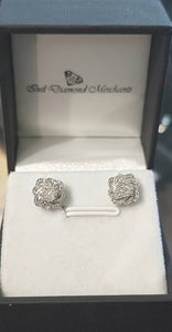 0.35ct Round Brilliant Cut Diamonds | Flower Design Cluster Stud Earring | 10kt White Gold
