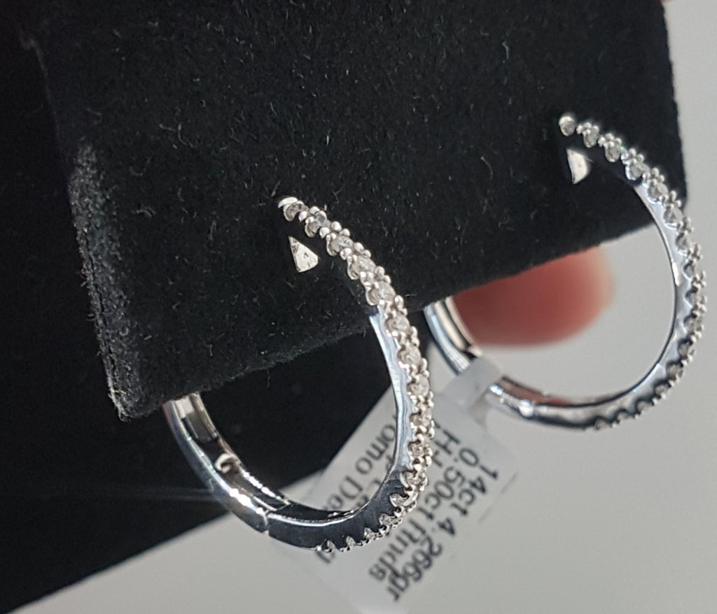 0.50ct Round Brilliant Cut Diamond Hoop Earrings set in 14kt White Gold