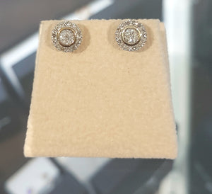 0.35ct Round Brilliant Cut Diamonds | Hal Design Earrings | 10kt Yellow Gold