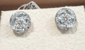 0.41ct Round Brilliant Cut Diamonds | Halo Design Earrings | 14kt White Gold