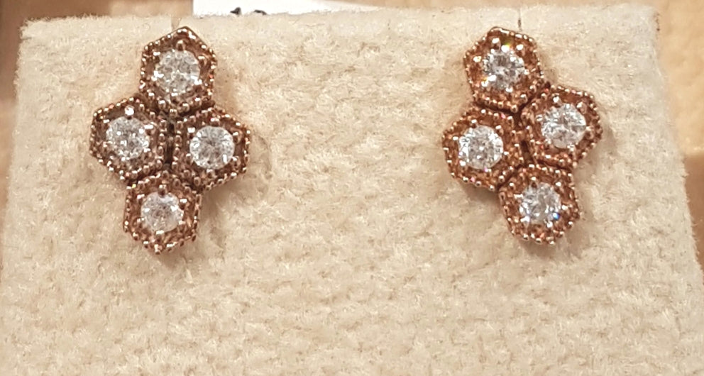 0.23ct [8] Round Brilliant Cut Diamond | Earrings | 18kt Rose Gold