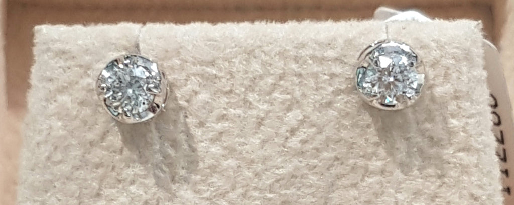 0.30ct [2] Round Brilliant Cut Diamonds | Crown Stud Earrings | 18kt White Gold
