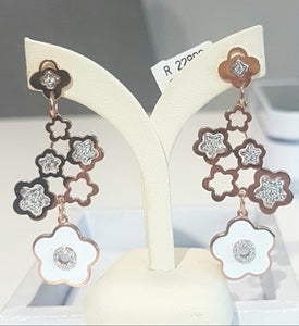 0.80cts Round Brilliant Cut Diamonds | Drop Earrings | 18kt Rose Gold
