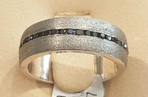 0.65ct [51] Round Cut Black Diamond Eternity Ring set in Silver | Size P