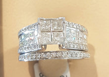 Load image into Gallery viewer, 1.50ct Princess and Round Cut Diamonds | Invisible Design | Brideal Twinset | 10kt White Gold
