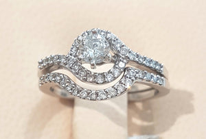 0.71ct Diamond Ring + Band set in 14kt White Gold