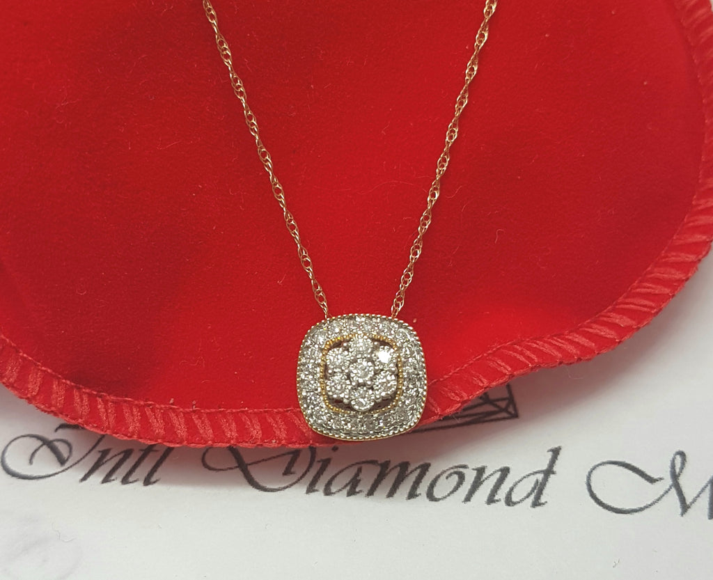 0.30ct |Round  Cut Diamond Pendant| set in 10kt Yellow Gold incl. Chain