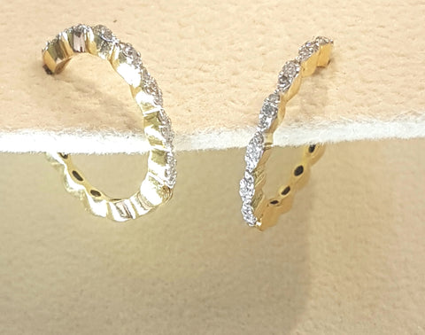 0.25ct [42] Round Brilliant Cut Diamonds | Hoop Design Earrings | 18kt Yellow Gold