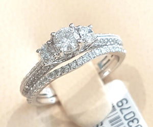 1.00ct Round Brilliant Cut Diamonds | Trilogy Design Bridal Twinset | 14kt White Gold