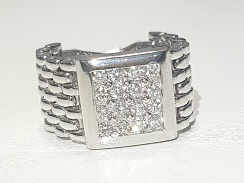 0.50ct [16] Round Brilliant Cut Diamonds | Designer Flex Gents Ring | 18kt White Gold