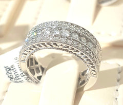 1.00ct Round Brilliant Cut Diamonds | Half Eternity 3 Row Design | 14kt White Gold
