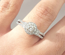 Load image into Gallery viewer, 0.50ct Round Brilliant Cut Diamonds | Halo Design Split Shank Ring | 10kt White Gold