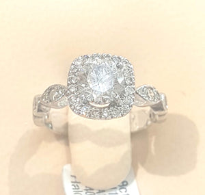 1.113ct [Centre] + 0.40ct Round Brilliant Cut Diamond Halo Design Ring set in 18kt White Gold