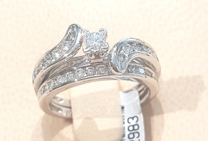 1.00ct Round and Princess Cut Diamonds | Swirl Design Bridal Set | 14kt White Gold