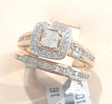 Load image into Gallery viewer, 1.00cts Princess and Round Cut Diamonds | Bridal Twinset | 14kt Yellow Gold