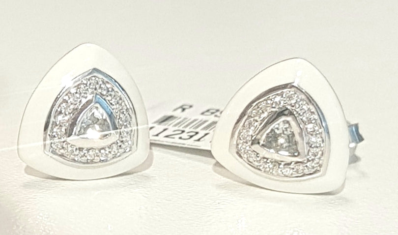 0.13ct Round and Trilliant Cut Diamonds | White Enamel Design Stud Earring | 18kt White Gold
