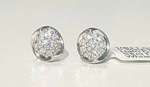 0.25ct Round Brilliant Cut Diamonds | Designer Halo Stud Earring | 10kt White Gold