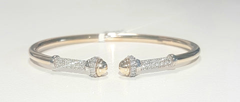 0.72ct Round Brilliant Cut Diamonds | Flex Design Bangle | 18kt Yellow and White Gold