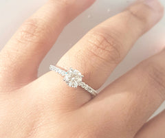 0.690ct Round Brilliant Cut Diamond Centre | 0.16ct [18] Round Brilliant Cut Diamonds on Shank | Designer Ring | 18kt White Gold