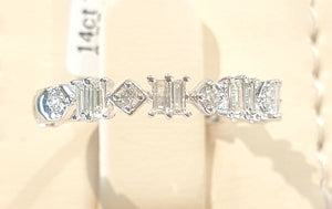 0.35ct Round and Baguette Cut Diamonds | Designer Band | 14kt White Gold