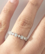 Load image into Gallery viewer, 0.35ct Round and Baguette Cut Diamonds | Designer Band | 14kt White Gold