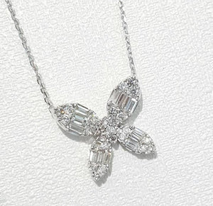 0.430ct Round and Baguette Cut Diamonds | Necklace | 18kt White Gold