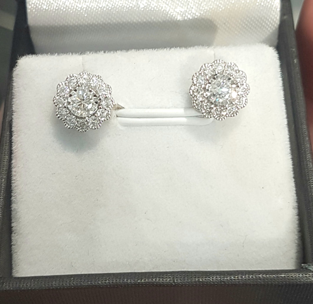 0.50ct Round Brilliant Cut Diamonds | Floral Halo Design Earring Studs | 10kt White Gold