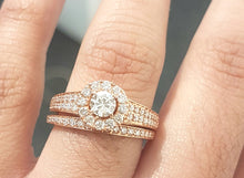 Load image into Gallery viewer, 1.00ct Round Brilliant Cut Diamonds | Halo Design Bridal Twinset | 14kt Rose Gold