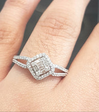 Load image into Gallery viewer, 0.50ct Round and Baguette Cut Diamonds | Split Shank | 14kt White Gold