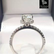 Load image into Gallery viewer, 1.054ct Round Brilliant Cut Diamond | 0.30ct [36] Round Brilliant Cut Diamond Halo and Sides | Designer Ring | 18kt White Gold