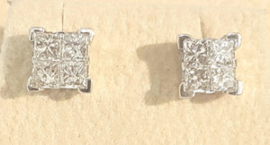 1.00ct [8] Princess Cut Diamonds | Invisible Design Earring Studs | 14kt White Gold