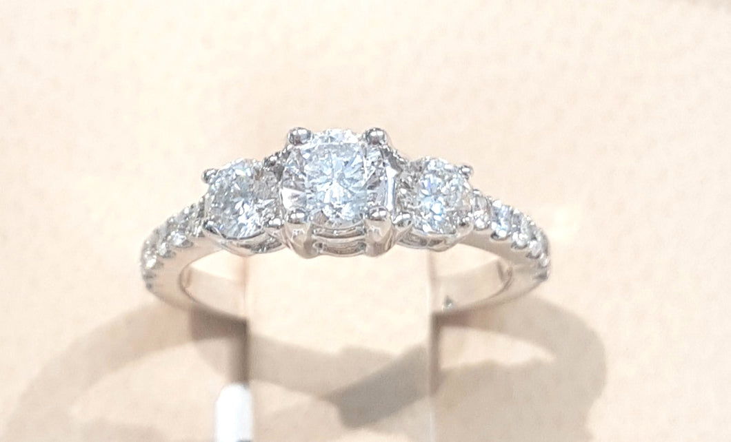 1.00ct Round Brilliant Cut Diamonds | Trilogy Design Ring | 14kt White Gold