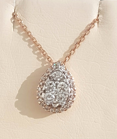 0.51ct [34] Round Brilliant Cut Diamonds | Pear Design Pendant with Chain | 18kt Rose and White Gold