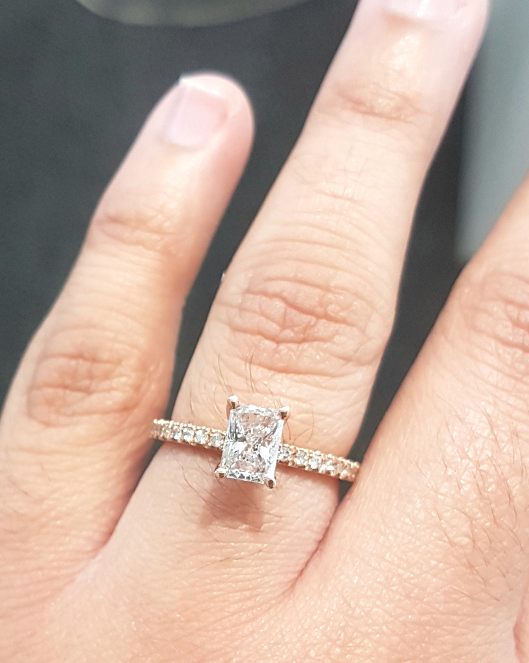 0.772ct Radiant Cut Diamond Centre | 0.18ct [18] Round Cut Diamonds Pave Setting | Designer Ring | 18kt Rose Gold