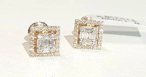 0.50ct Round and Baguette Cut Diamonds | Cluster Earring | 14kt Yellow Gold