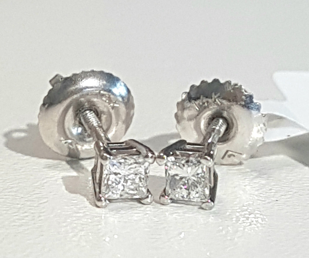 0.25ct [2] Princess Cut Diamonds | Stud Earrings | 14kt White Gold