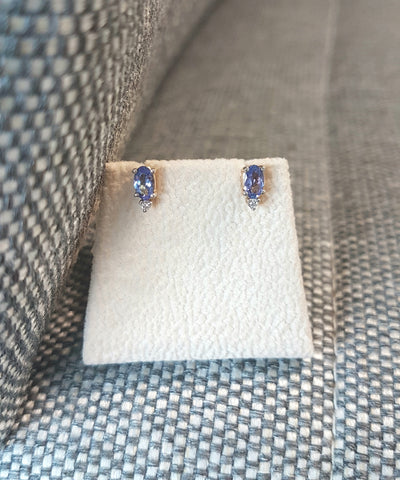 0.40ct [2] Oval Cut Tanzanite | 0.02ct Round Brilliant Cut Diamonds | Earring Studs | 14kt Yellow Gold