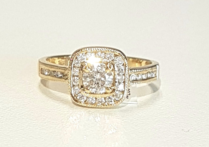 0.772ct [29] Round Brilliant Cut Diamonds | Channel Design Ring | 18kt Yellow Gold