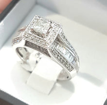 Load image into Gallery viewer, 1.00ct Round Brilliant, Baguette and Princess Cut Diamonds | Designer Ring | 10kt White Gold