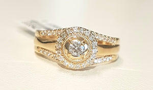 0.50ct Round Brilliant Cut Diamonds | Designer Halo Ring | 14kt Yellow Gold