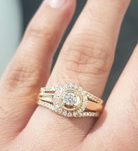 Load image into Gallery viewer, 0.50ct Round Brilliant Cut Diamonds | Designer Halo Ring | 14kt Yellow Gold