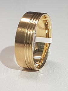 Gents Ring | Matt and Polish Design | Comfort Fit | Size W | 9kt Yellow Gold