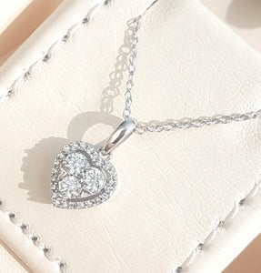 0.33cts Round Brilliant Cut Diamonds | Cluster Design Heart Shape Pendant with Chain | 14kt White Gold