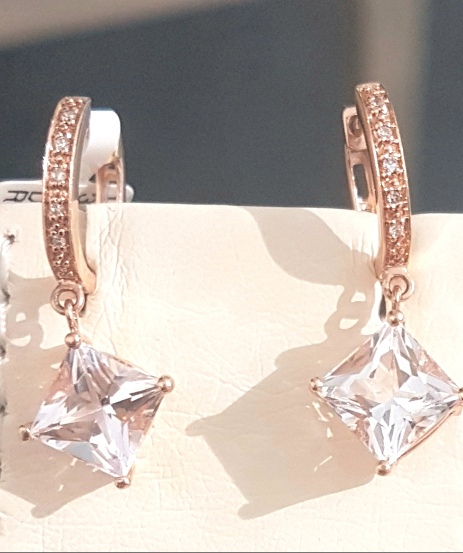 3.00ct [2] Cushion Cut Morganites | 0.05ct [10] Round Cut Diamonds | Drop Earrings | 14kt Rose Gold