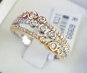 0.33ct Round Brilliant Cut Diamonds | Designer Band | 14kt Tri-Colour Gold