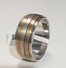 Load image into Gallery viewer, Gents Ring | Spinning Design | 9kt Yellow and White Gold | Size V