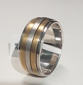 Gents Ring | Spinning Design | 9kt Yellow and White Gold | Size V