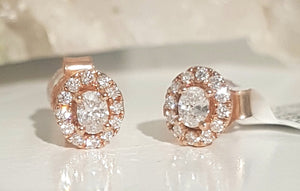 0.35ct Oval and Round Cut Diamonds | Halo Design Stud Earrings | 14kt Rose Gold