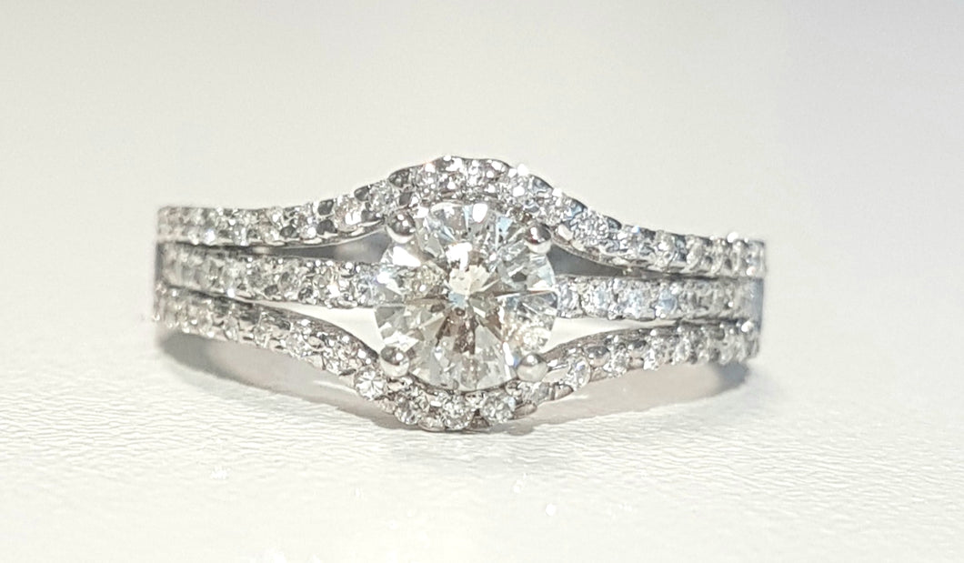 0.52ct Round Brilliant Cut Centre Diamond | 0.40cts Round Cut Pave Design Diamond Ring | 18kt White Gold