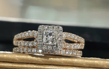 Load image into Gallery viewer, 1.00ct Princess and Round Cut Diamonds | Bridal Twinset | 14kt Yellow Gold